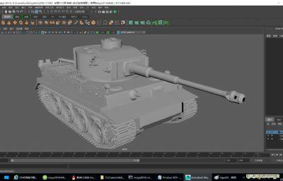 德国二战 虎式坦克精细模型Maya2016模型