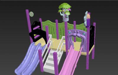 小型双道滑滑梯OBJ模型