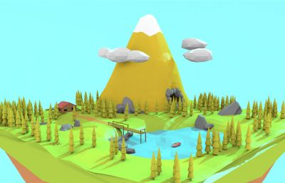 低面山脈森林小湖泊場景,C4D,FBX,DAE等格式