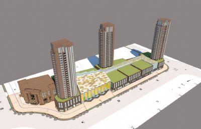 高層小區+街鋪整體效果su模型