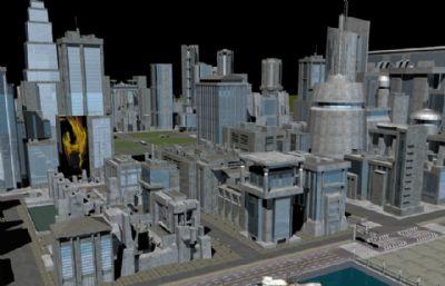 沿海城市,飞机场,码头,滨海城市,未来科技城市(内含mb,c4d,fbx格式文件)