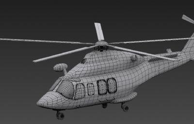 AW139型民用直升�C3D模型白模