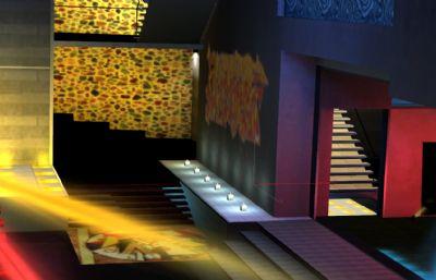游戏里的一个酒吧模型,有贴图