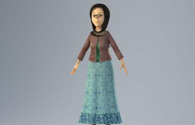 ��外牧�龃��,戴眼�R的奶奶3D模型,corona渲染