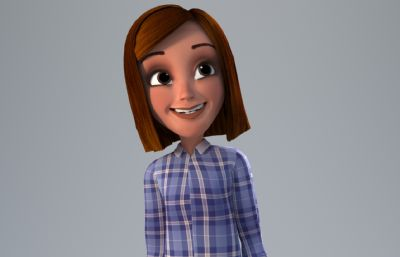 短�l牛仔�r衣女孩3D模型,corona渲染