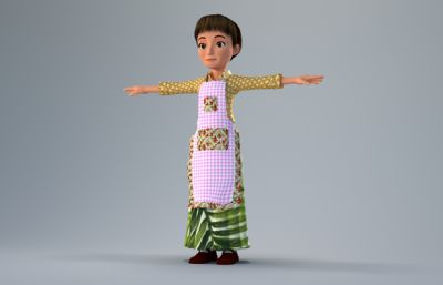 穿��裙的�D女母�H3D模型,corona渲染