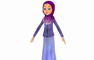 穿紫色�L裙的中�|女孩3D模型,corona渲染