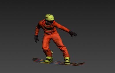 滑雪�\��T3D模型