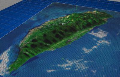 写实台湾岛,海中岛屿,地貌山形C4D模型