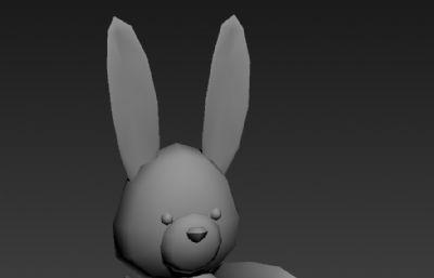 小兔子女孩玩偶3D模型