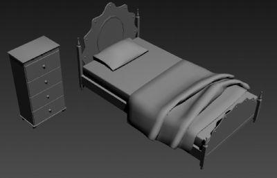公主床,�稳舜�+床�^柜3D模型