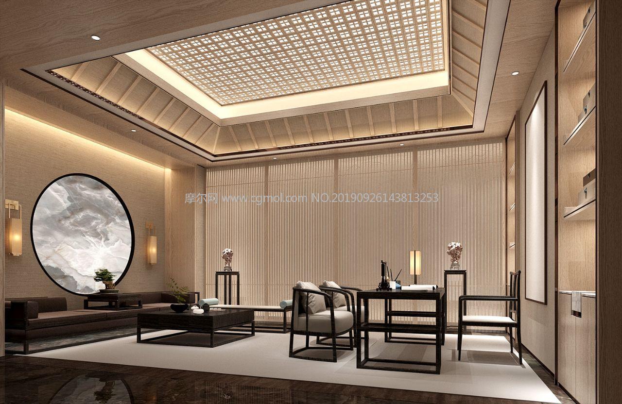 中式书房复古书房3D模型