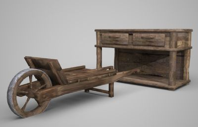 古代老�f的柜子木�^�3D模型