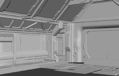 科幻舱体场景组件3D模型
