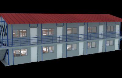 工人板房,施工工地板房3D模型