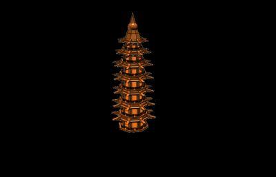 七层八角玲珑塔,八角塔STL模型