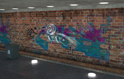 墙面涂鸦真实街景C4D模型