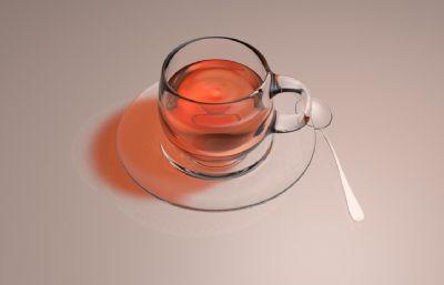 写实的玻璃器皿红色饮料C4D模型