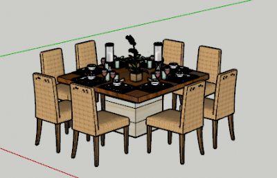 餐桌组合su模型