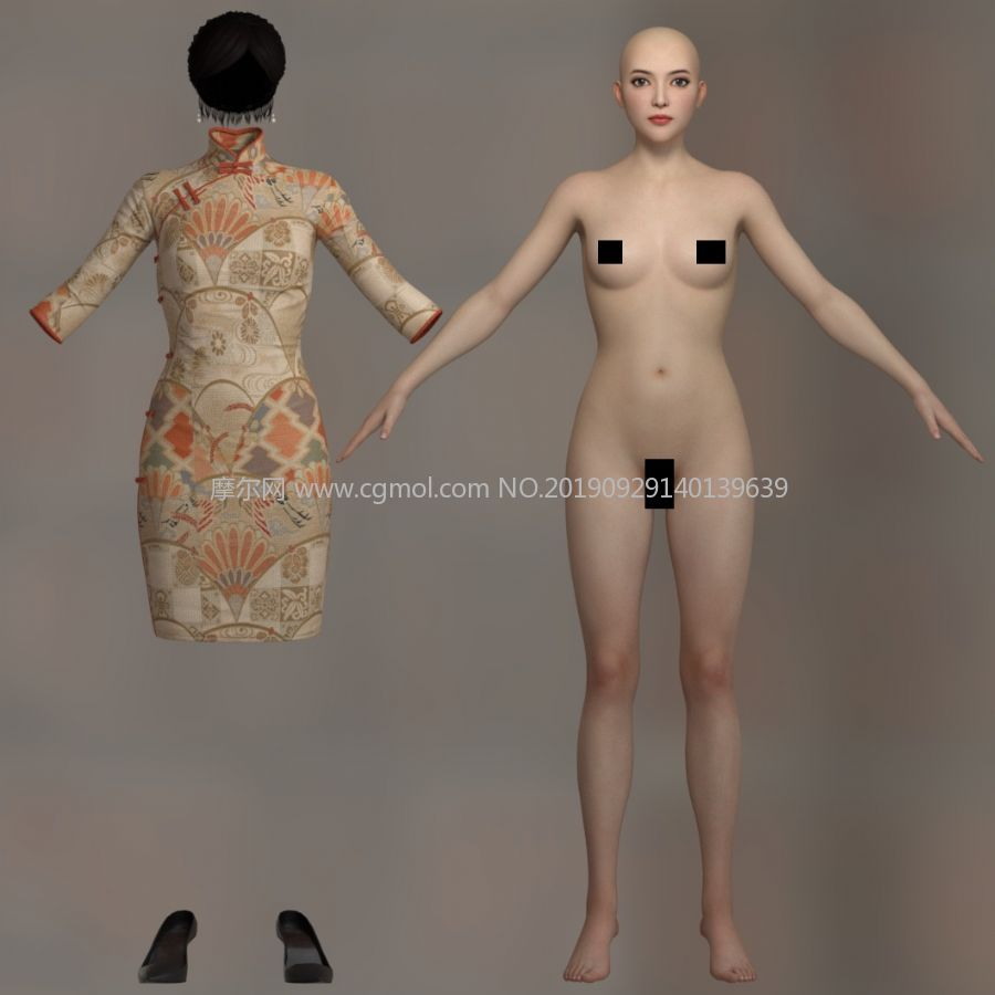 旗袍女人女子3D模型,有贴图,有MAX,MA,OBJ等格式(网盘下载)