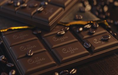 巧克力,咖啡豆美食海报设计3D模型