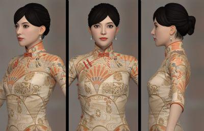 旗袍女人女子3D模型,有�N�D,有MAX,MA,OBJ等格式(�W�P下�d)