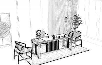 中式茶室家具C4D模型