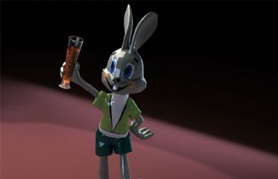 �e杯�c祝的卡通兔子3D模型,�Р馁|