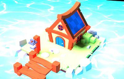 卡通海上漂浮房屋房子3D模型,FBX,MAX,OBJ等格式