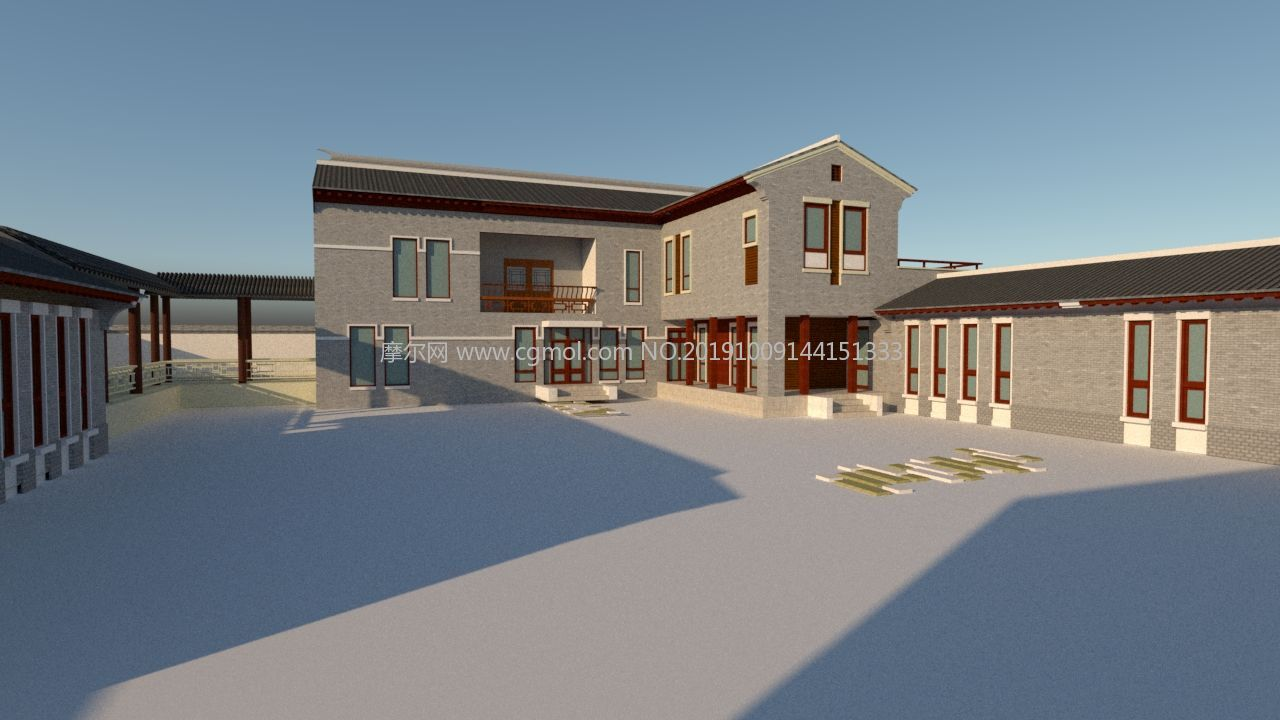 仿古园林风格新农村民房,便民中心建筑su模型