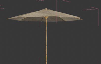 古代油紙傘石墩+木凳子3D模型