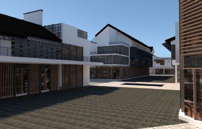 现代仿古商业街,商业广场su模型
