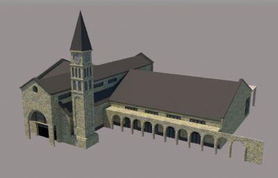 国外简单钟楼教堂su模型
