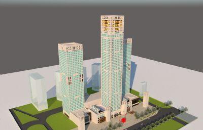 商场,商业办公楼su模型