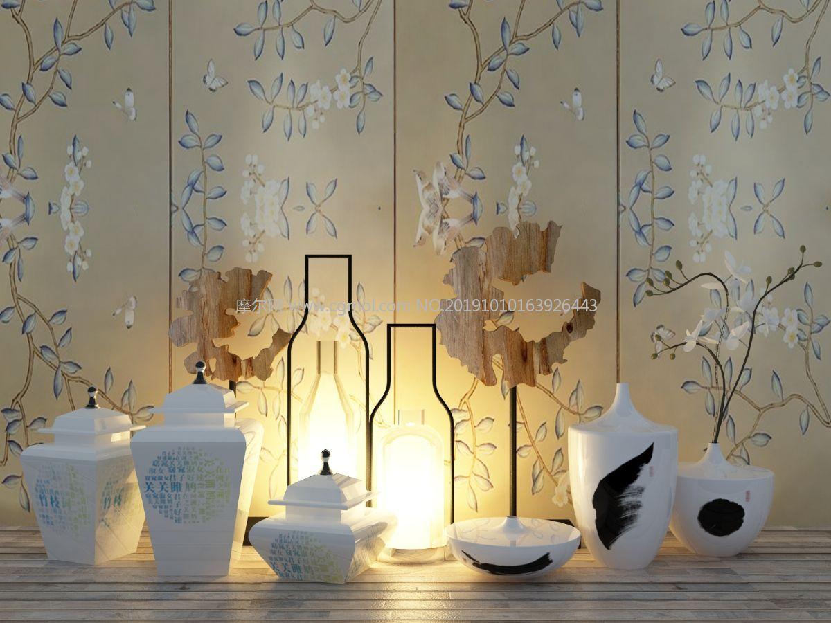 瓶子瓷器灯具等中式样板房装饰摆件3D模型