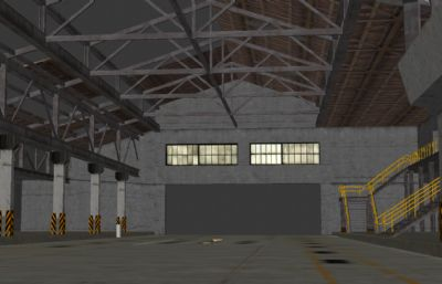 破损仓库厂房3D模型(网盘下载)