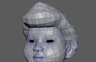 胖女人头部高模maya模型