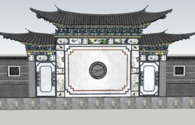 中式精细照壁su模型