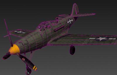 美军二战战斗机P39 3D模型