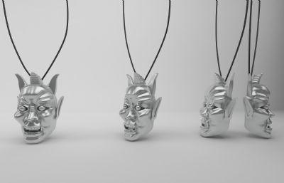 鬼武者面具3D模型,個性吊墜3D模型,MAX,STL格式