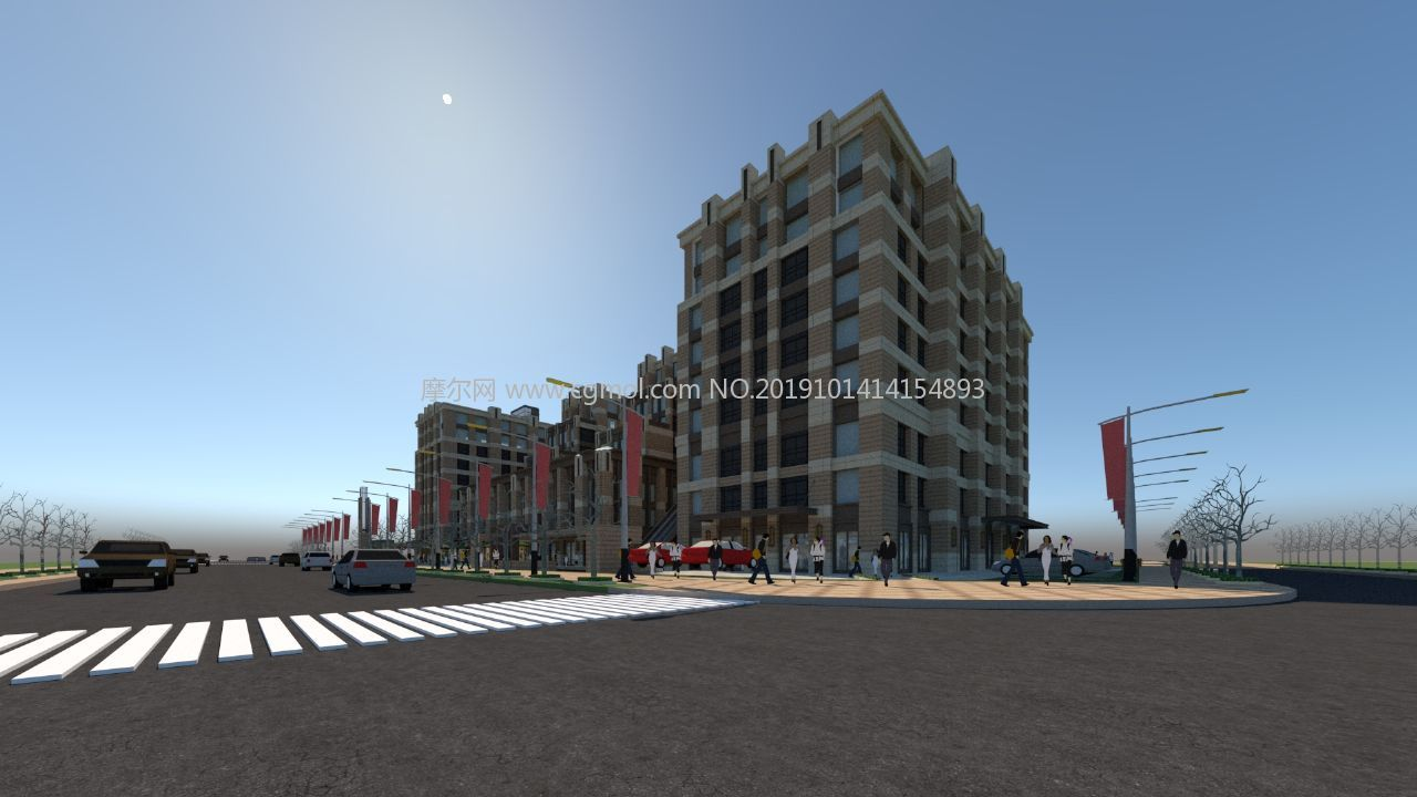 柳梧宏御广场,商业广场su模型