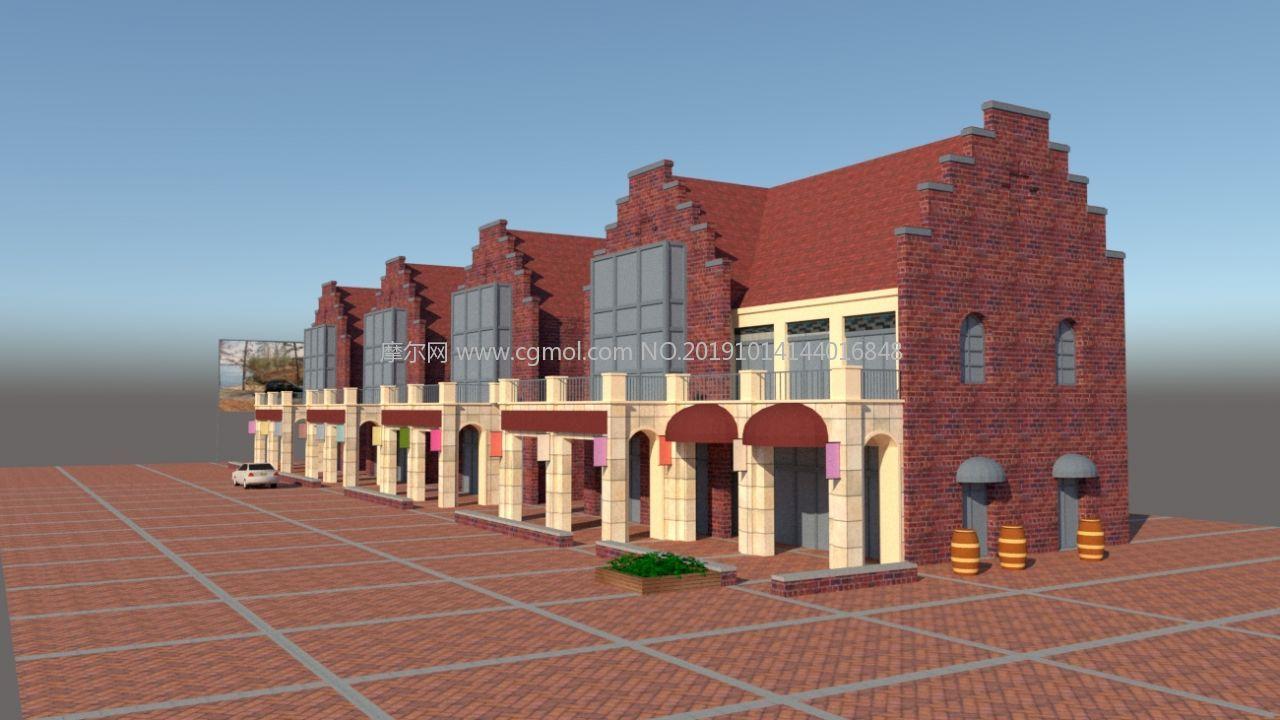沿街商�su模型