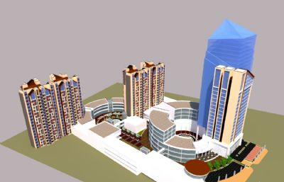 小区+商业楼整体设计su模型