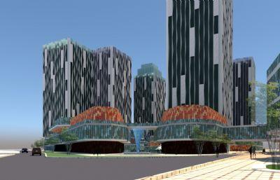 商业办公区,科技大厦su模型