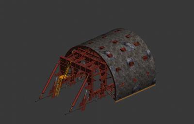 自行走二衬台车,隧道衬砌台车3D模型