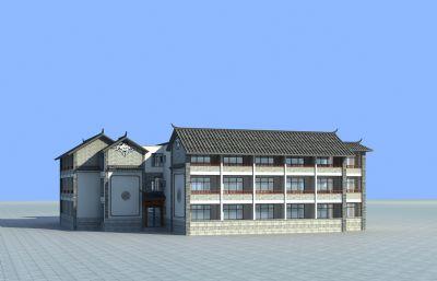 白族民居建筑,商业街建筑3D模型