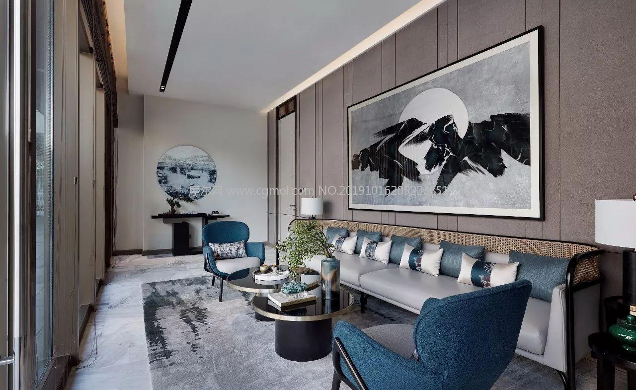 新中式客厅,VIP接待休息室3D模型(网盘下载)