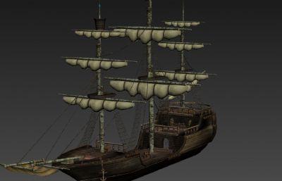 很久前做的古代帆船3D模型