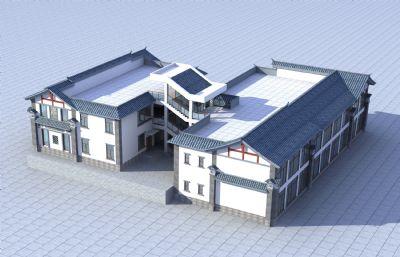 白族民居酒店建筑3D模型