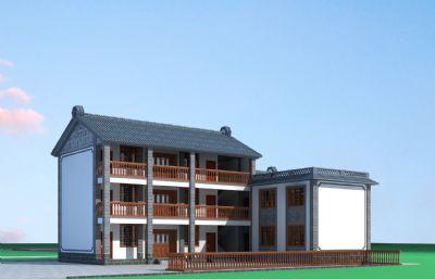 白族民居自建三层房屋3D模型